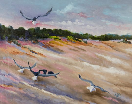 Gulls Pit Stop, Acrylic on Board