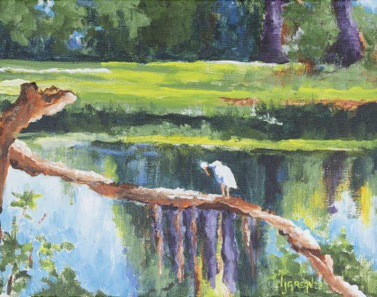 Crane on Fallen Tree